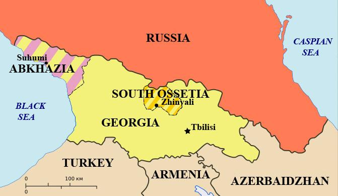 карта Грузии, Абхазии и Северной Осетии