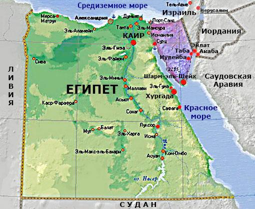Синайский полуостров на карте