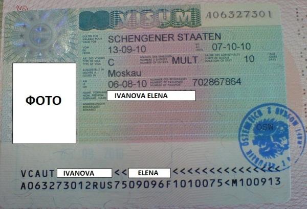 Как выглядит Шенгенская виза в Австрию