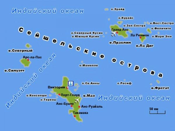 карта Сейшельского архипелага
