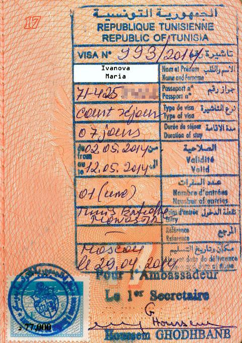 образец заполнения визы в тунис для россиян в 2016 году - фото 7