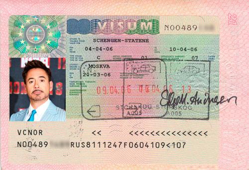Образец шенгенской визы в Норвегию