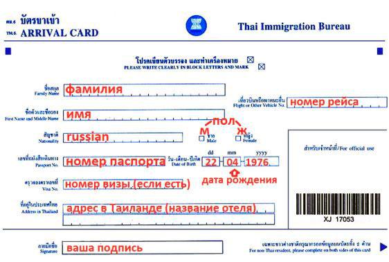 Образец миграционной карты