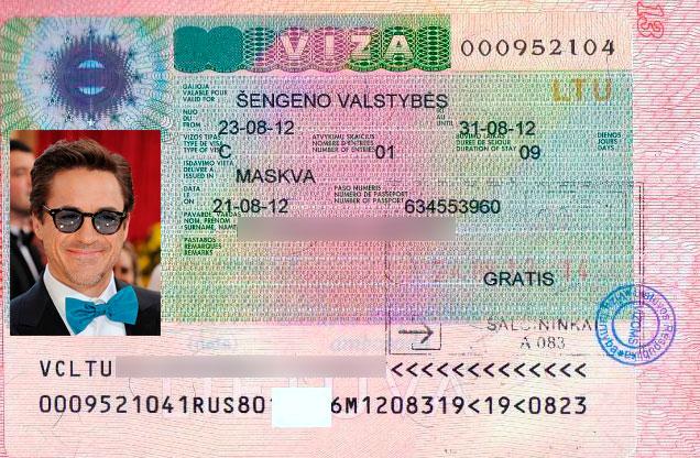 Как выглядит виза в Литву