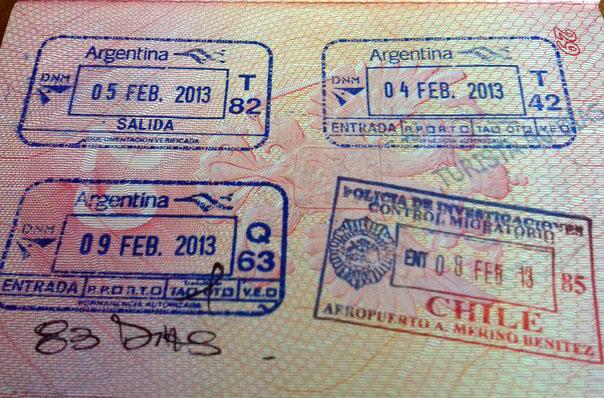 Пограничные штампы Аргентины