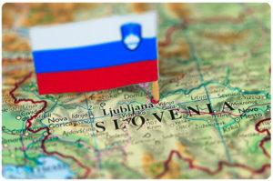 Карта Словении с флагом