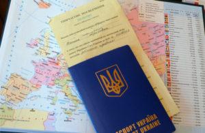 Украинский загранпаспорт на карте