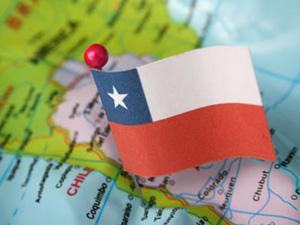 Чилийский флаг на карте
