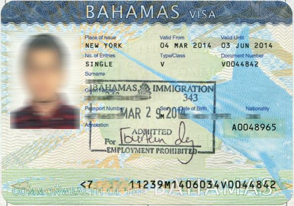 Визовое разрешение на Багамские острова