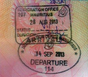 Пограничные штампы Маврикия