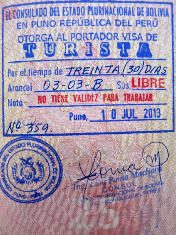 Штамп туристического визового разрешения