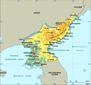 КНДР на карте