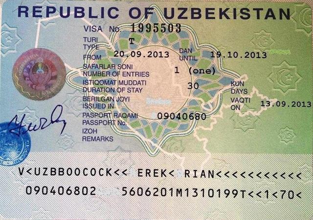 Визовое разрешение в Узбекистан