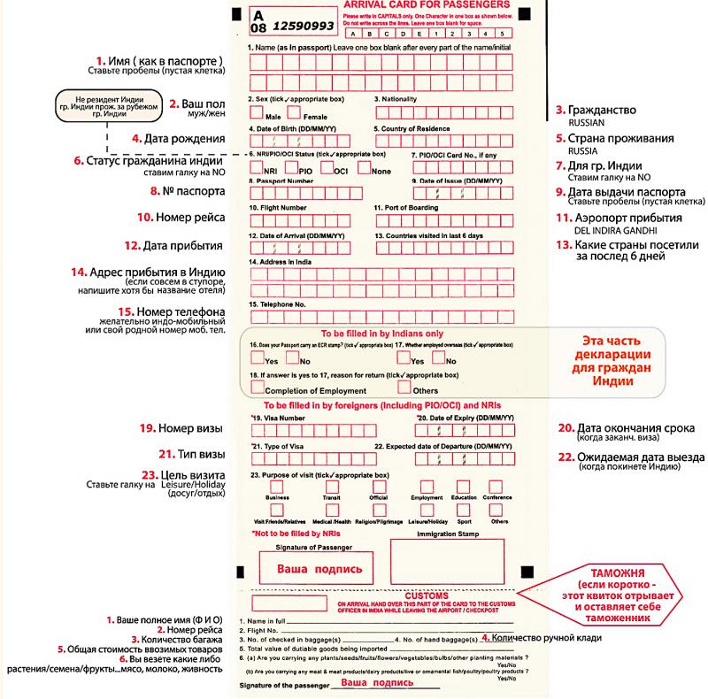 образец заполнения миграционной карты индии